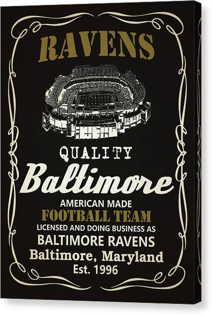 Superbowl Canvas Print - Baltimore Ravens Whiskey by Joe Hamilton