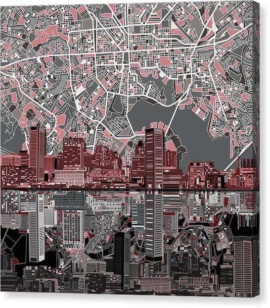 Baltimore Maryland Canvas Print - Baltimore Skyline Abstract by Bekim Art