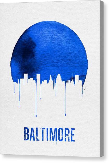 Baltimore Maryland Canvas Print - Baltimore Skyline Blue by Naxart Studio