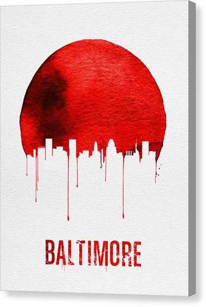 Maryland Canvas Print - Baltimore Skyline Red by Naxart Studio