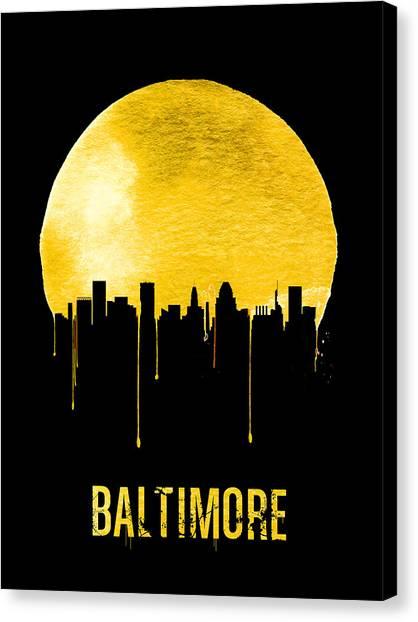 Maryland Canvas Print - Baltimore Skyline Yellow by Naxart Studio