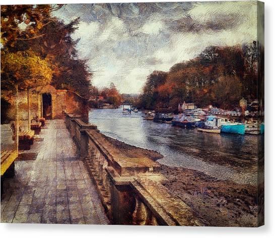 Balustrades And Boats Canvas Print