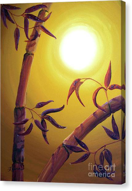 Full Moon Canvas Print - Bamboo After A Light Rain by Laura Iverson