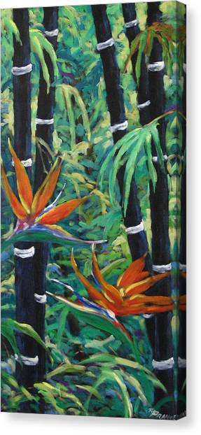 Poppys Canvas Print - Bamboo And Birds Of Paradise by Richard T Pranke