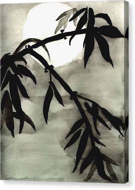 Bamboo In Moonlight - Watercolor Painting Canvas Print