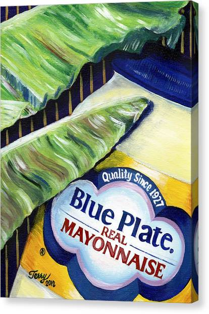 Banana Leaf Series - Blue Plate Mayo Canvas Print by Terry J Marks Sr
