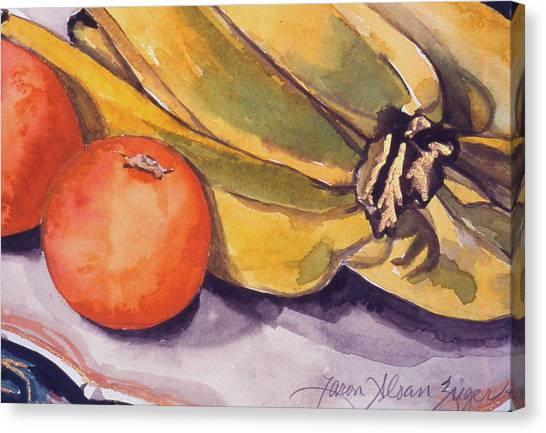Bananas And Blood Oranges Still-life Canvas Print by Caron Sloan Zuger