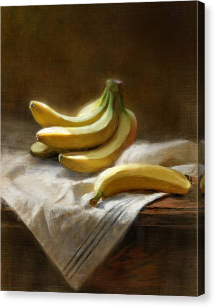 Bananas On White Canvas Print