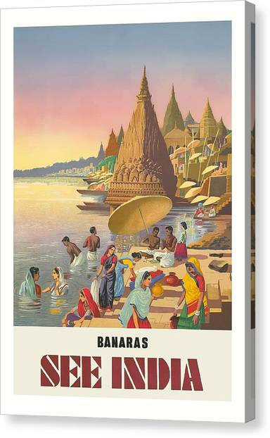 Ganges Canvas Print - Banaras See India Varanasi On The Ganges River Vintage Travel Poster by Retro Graphics