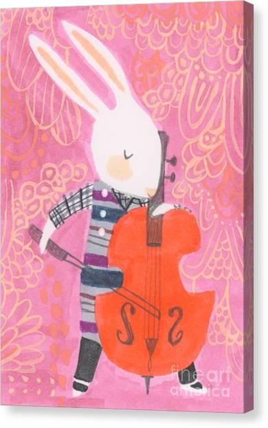 Bunny Canvas Print - Cello Band Geek by Kate Cosgrove