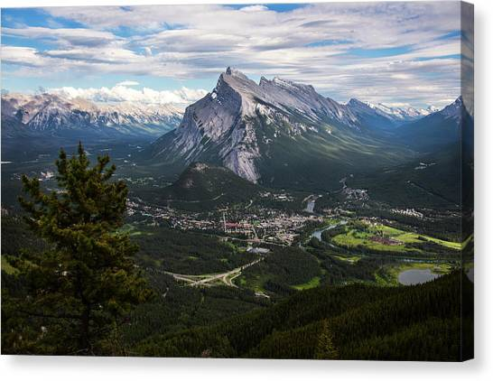 Canada Glacier Canvas Print - Banff Town In Canadian Rockies by Dave Dilli