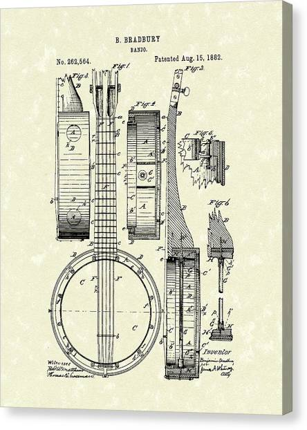 Banjo 1882 Patent Art Canvas Print