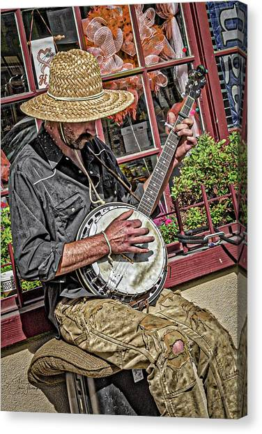 Banjo Man Orange Canvas Print