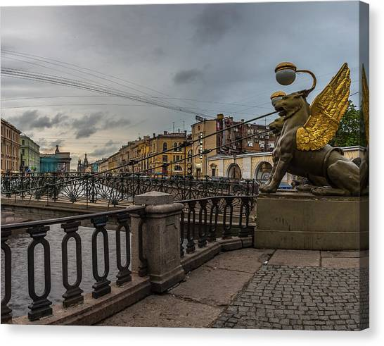Sightseeing Canvas Print - Bank Bridge Over The Griboedov Canal  by Capt Gerry Hare