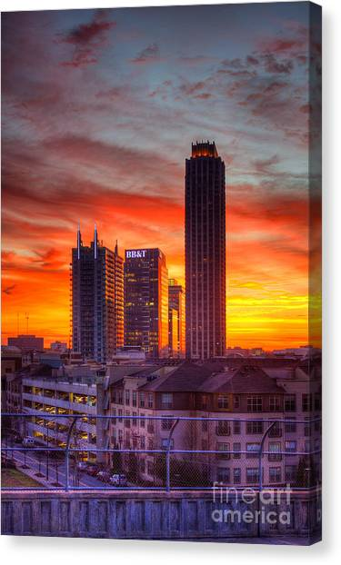Emory University Canvas Print - Banking Midtown Atlanta Sunrise by Reid Callaway
