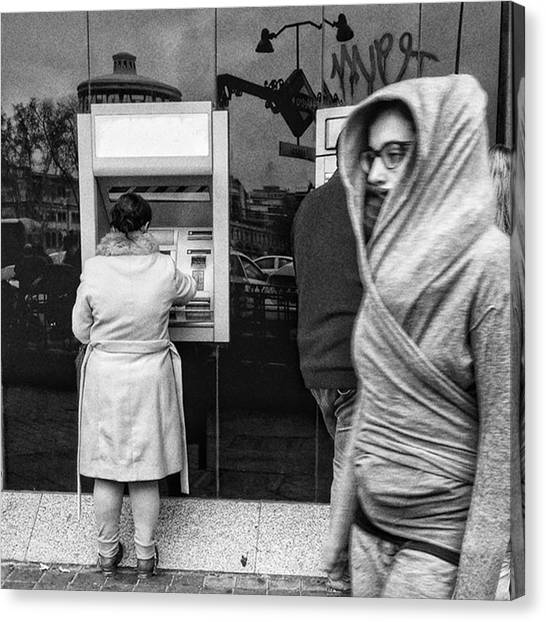 Madrid Canvas Print - Bank #bank #money #streetphoto_bw by Rafa Rivas