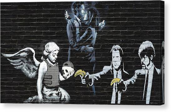 Pulp Fiction Canvas Print - Banksy - Failure To Communicate by Serge Averbukh