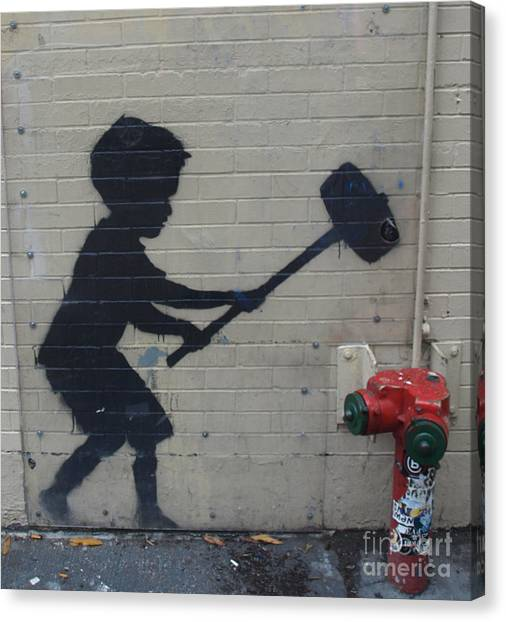 Banksy In New York Canvas Print