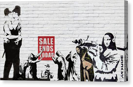 Pulp Fiction Canvas Print - Banksy - Saints And Sinners   by Serge Averbukh