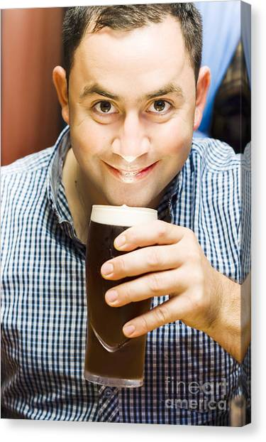 Pint Glass Canvas Print - Bappy European English Man Drinking Pint Of Beer by Jorgo Photography - Wall Art Gallery