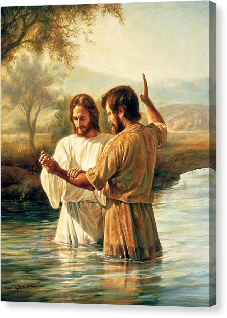 River Jordan Canvas Print - Baptism Of Christ by Greg Olsen