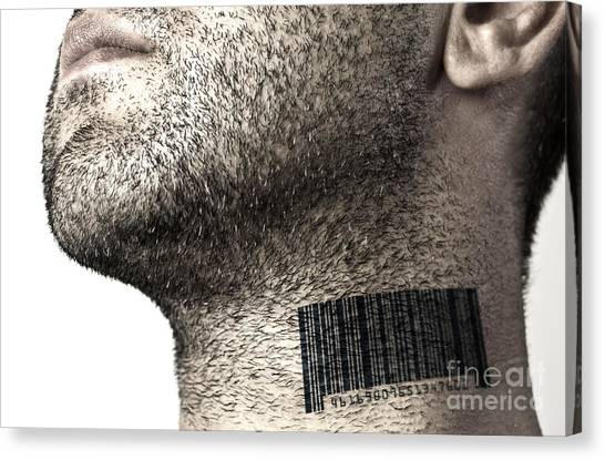 Chin Canvas Print - Bar Code On Neck by Blink Images
