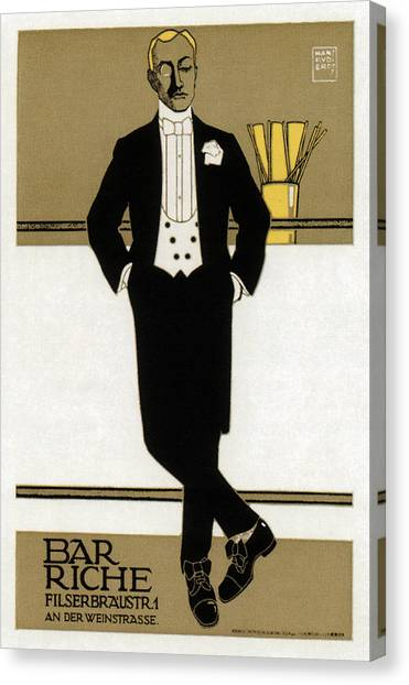 Tuxedo Canvas Print - Bar Riche - Gentleman In Tuxedo - Vintage Advertising Poster by Studio Grafiikka