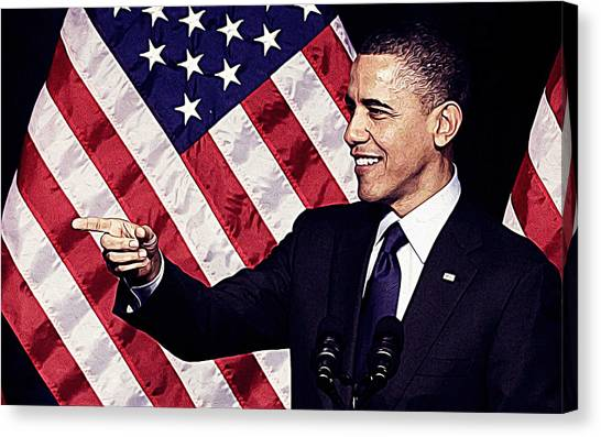 Sarah Palin Canvas Print - Barack Obama by Queso Espinosa