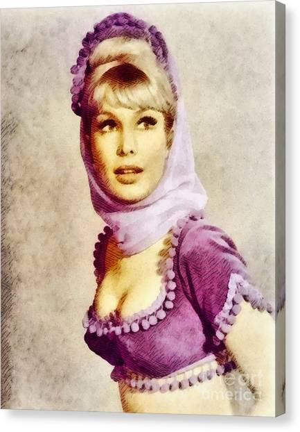 Stardom Canvas Print - Barbara Eden, Vintage Actress By John Springfield by John Springfield