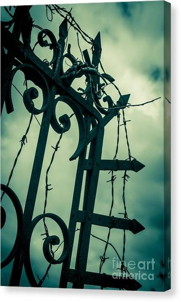 Border Wall Canvas Print - Barbed Wire Gate by Carlos Caetano