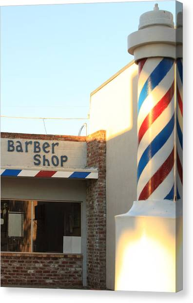 Barber Shop Canvas Print by Troy Montemayor