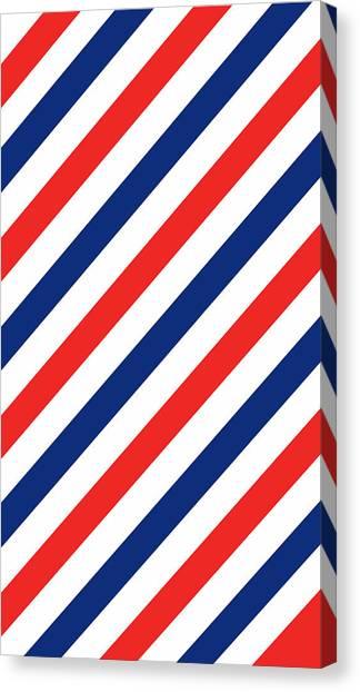 Patriotic Canvas Print - Barber Stripes by Julia Jasiczak