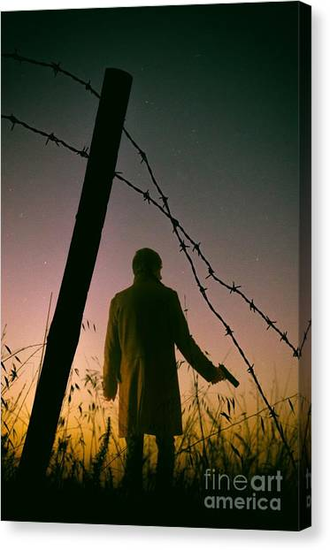 Cia Canvas Print - Barbwire Trespassing by Carlos Caetano