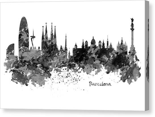European City Canvas Print - Barcelona Black And White Watercolor Skyline by Marian Voicu