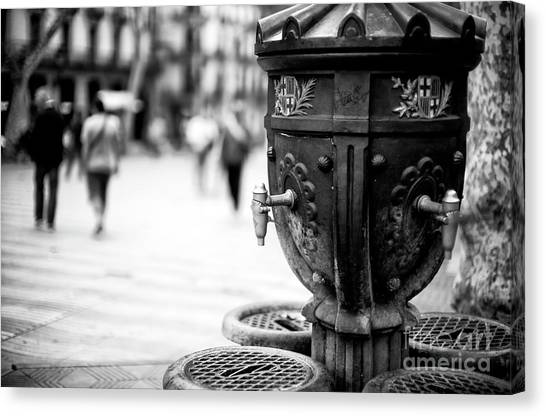 Barcelona Drinking Fountain Canvas Print by John Rizzuto