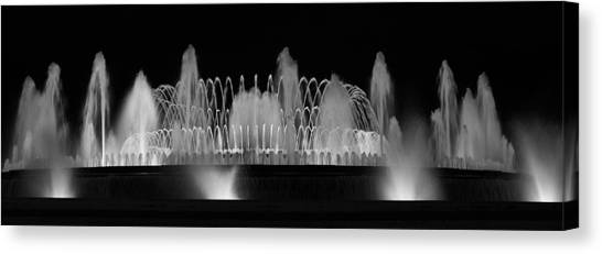 Barcelona Fountain Nightlights Canvas Print