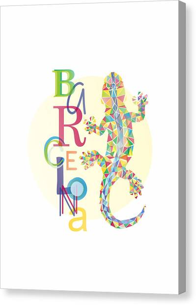 Salamanders Canvas Print - Barcelona Lizard by Julia Jasiczak