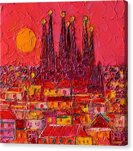 Barcelona Moon Over Sagrada Familia - Palette Knife Oil Painting By Ana Maria Edulescu Canvas Print