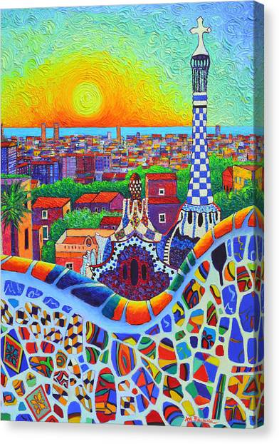 Barcelona Park Guell Sunrise Gaudi Tower Textural Impasto Knife Oil Painting By Ana Maria Edulescu Canvas Print
