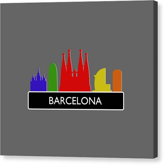 Gothic Art Canvas Print - Barcelona Skyline by Marco Livolsi