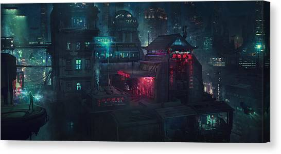 Neon Canvas Print - Barcelona Smoke And Neons Eixample by Guillem H Pongiluppi