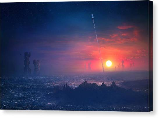 Neon Canvas Print - Barcelona Smoke And Neons Montserrat by Guillem H Pongiluppi