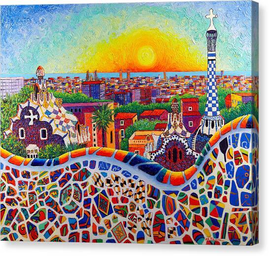 Barcelona Sunrise Colors From Park Guell Modern Impressionism Knife Oil Painting Ana Maria Edulescu Canvas Print