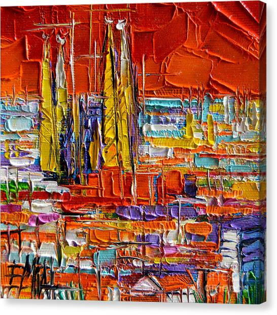 Barcelona Sagrada Familia View From Parc Guell Abstract Palette Knife Oil Painting Canvas Print
