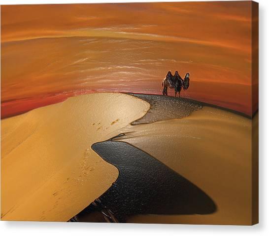 Arabian Desert Canvas Print - Barchan Dunes by Scott Mendell