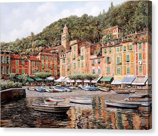 Vacations Canvas Print - barche a Portofino by Guido Borelli
