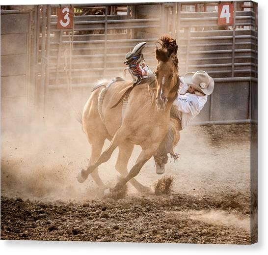 Dust Canvas Print - Bareback Bronc by Jay Heiser