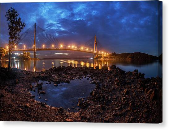 Canvas Print featuring the photograph Barelang Bridge, Batam by Pradeep Raja Prints