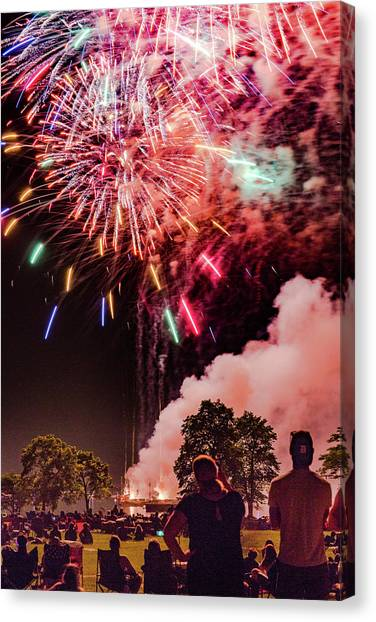 University Of Wisconsin - Madison Canvas Print - Barge And Fireworks by Vincent Buckley