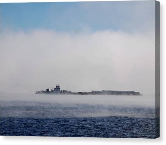 Barge In Morning Fog Canvas Print by Larry Nielson